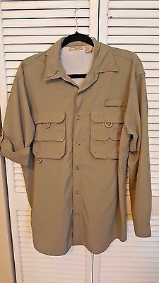 Rugged Earth Outers Vented Fishing Adjustible Sleeve Shirt Green M
