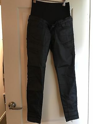 Leather Look Maternity Skinny Black Jeans Size 8