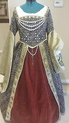 3Beautiful handmade blue and gold Renassiance dress gown costume