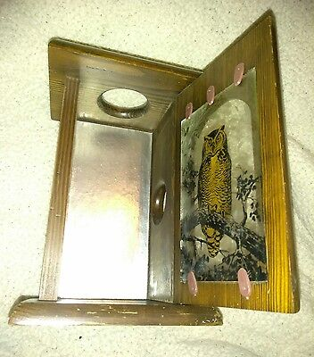 Vintage Wood Box Stained Glass Golden Owl Wall Sconce Candle Holder with Mirror