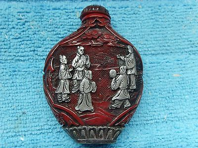 chinese cinnabar hand crafted bottle