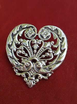 Stunning Antique Victorian Hm Silver Detailed Heart Sweetheart Pin Brooch