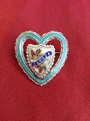 Stunning Antique/vintage ? Hm Silver Enamelled  Canada Sweetheart Pin Brooch
