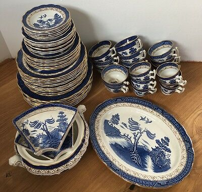 Booths REAL OLD WILLOW China A8025 JOB LOT of 73 Pieces BLUE & WHITE Coffee Pot