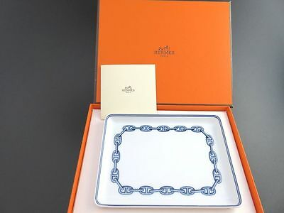 Beautiful HERMES Chaine D'ancre Square Plate Dish White & Blue with Box [886]