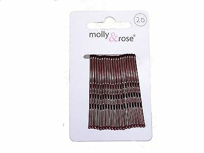20 Brown Hair Grips Kirby Grips Hair Slides Clips Bobby Pins 4.5cm