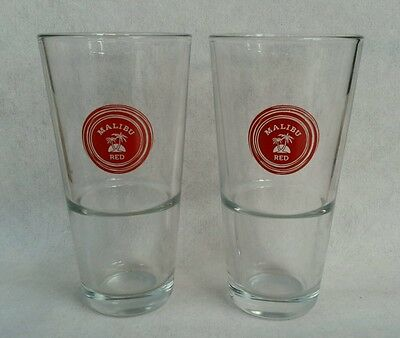 """Two  Malibu  """"red"""" Rum Shot Mixer Glasses For Home Bar Or  Pub - New"""