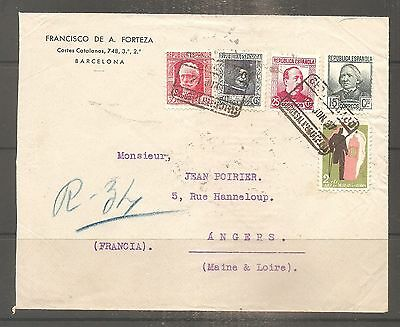 Lettre Espagne Spain Barcelona 1937 Guerre Civile Used To France