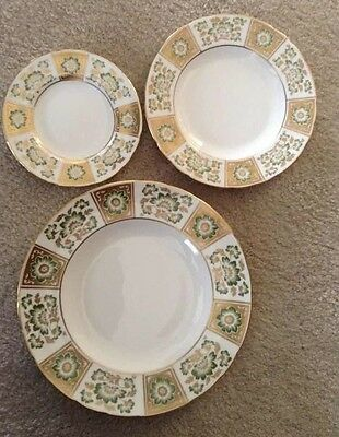 Crown Derby Green Panel China Set -Service for 8 (40 PIECES)