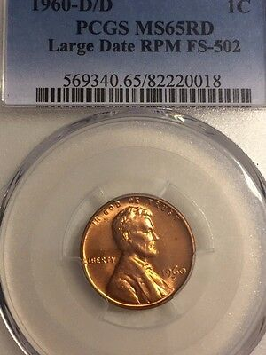 1960 D/D Lincoln Memorial Cent Large Date RPM Variety FS-502 MS65 RED PCGS