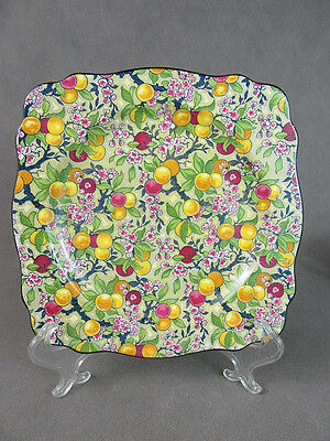 "1920s Crown Ducal CHINTZ Square PLATE~~""Fruit"" Pattern"