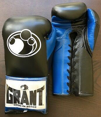 GRANT BOXING eBay Store - AUTHENTIC 10 oz Pro (Puncher's) Gloves - (Black/Blue)