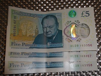 3x AL29 Consecutive SERIAL NUMBERS Bank of England £5 NOTES