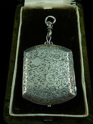 Antique VICTORIAN EDWARDIAN Engraved STERLING COMPACT Money Case LOCKET
