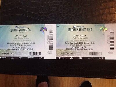 x 2 Priority Entry Green Day BST Tickets for Hyde Park July 1st 2017
