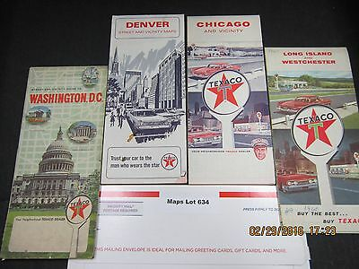 Texaco Map Lot # 634 Cities 1960s Lot of Four