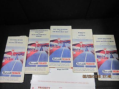 Texaco Map Lot # 638 1950s States Lot of Five