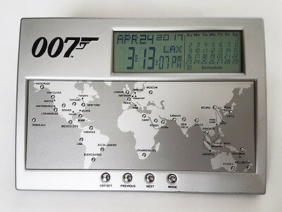 007 JAMES BOND Desk International Clock Collectible RARE