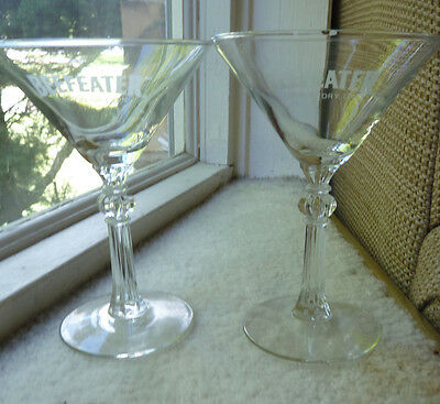 Two Beefeater London Dry Gin Martini Glasses Vintage