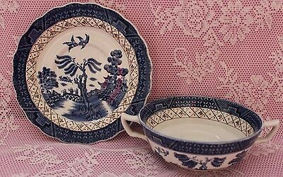 Booths Real Old Willow A8025 Cream Soup Bowl & Saucer