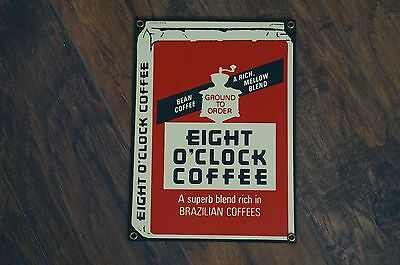 Eight O'Clock Coffee Sign - Porcelain Advertising Sign - Ande Rooney - Rare!!