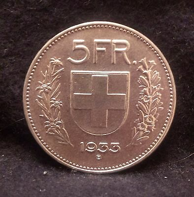 1933 Switzerland silver 5 francs, choice uncirculated, KM-40