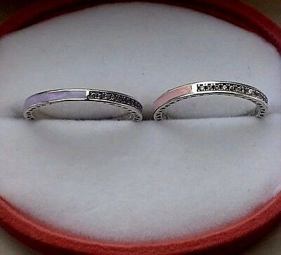 Genuine Silver S925 Radiant Hearts Heart Of Pink & Lavender  2 Set  Ring Size 54