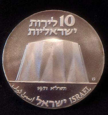 1971 Israel silver 10 lirot, Science & Industry, cameo proof, KM-58