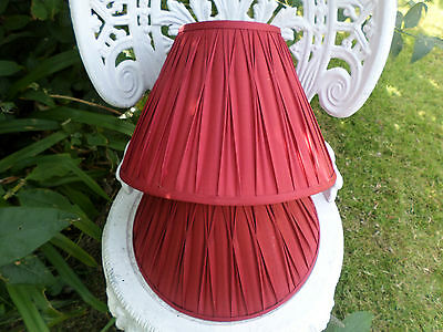 2 Red Pinch Pleat  Lamp Shades Bedside Table lamp  Laura Ashley 21cm high