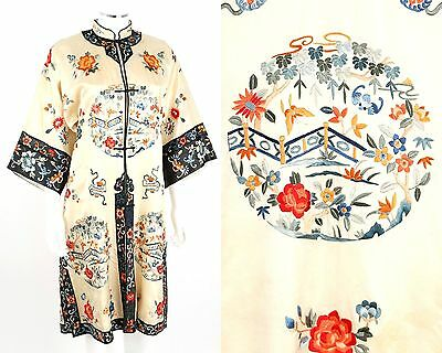 Vintage COUTURE 1920s 1930s CHINESE IVORY SILK EMBROIDERED FLORAL ROBE OSFM