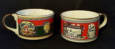 Set of 2 Tabasco Soup Mugs bowls Oysters Collectible