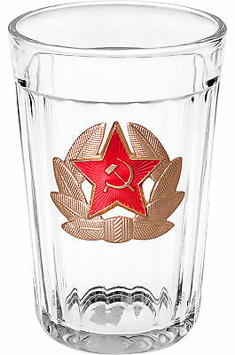 Soviet Style (Russia) Faceted Glass With Soviet Army Badge 250 Ml