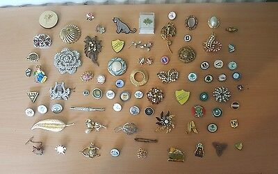 job lot of vintage brooches and badges