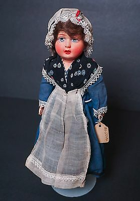 """Vintage French Celluloid Shoulder Plate Doll 10"""" Kimport Tag Provence Costume"""
