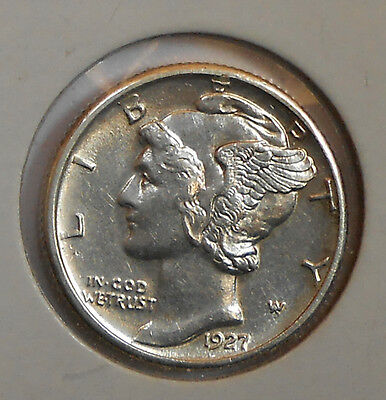 1927-d . . Mercury Dime . . BU . . MS