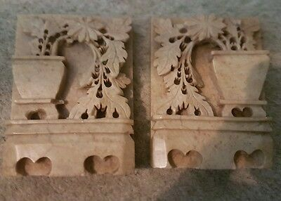 Set of heavy cream fossil stone marble book ends bookends great gift