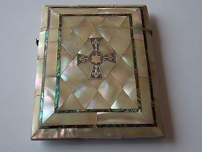 Quality Antique Victorian Mother Of Pearl & Abalone Card Case With Silver Cross