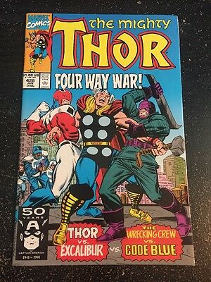 Mighty Thor#428 Incredible Condition 9.4(1991) Excalibur,Wrecking Crew, Frenz !!