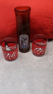 """Set Of 2 Canadian """"taster"""" Glasses - Mill Street Brewery + Wit Bottle Glass"""