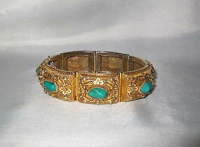Vintage Antique Chinese Export Turquoise Gilt Sterling Silver Filigree Bracelet