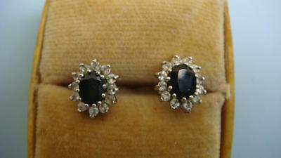 vintage 9ct gold and sapphire earrings