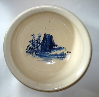 """P R Storie USA Pottery 8"""" MIXING SALAD SERVING BOWL Blue Barn Country Farm Home"""