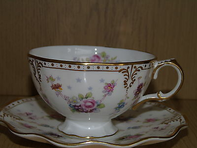 Royal Crown Derby ROYAL ANTOINETTE Tea Cup and Saucer Excellent Condition