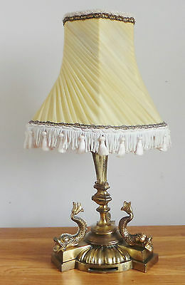 ANTIQUE c1900 - 1910 EDWARDIAN FARADAY & SONS GILTED DOLPHIN LAMP (MARKED) -RARE