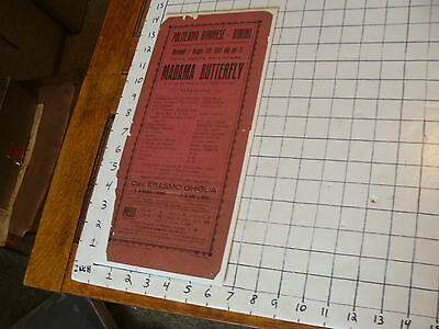 ORIGINAL THEATRE BROADSIDE: italian EARLY for MADAMA BUTTERFLY red paper