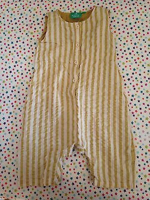 Little Green Radicals Baby Boys Girls 6-9 Month Seersucker Yellow Stripe Romper