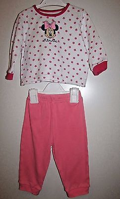 Baby Girls Minnie Mouse Pyjama Set 9-12 Months Great Condition Disney Baby