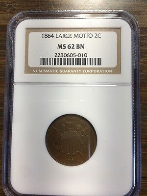 1864 Large Motto 2C Two Cent NGC MS-62 BN