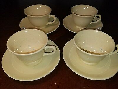 Vintage 1947 Lu Ray Pastels Yellow 4Pc Tea cup and Saucer Lot/Set