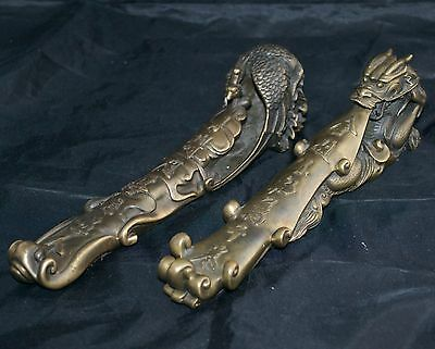 Chinese Bronzed Fenghaung Bird and Dragon Scroll Weights - Large